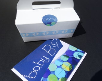 12- Gable CAKE BOXES Baby Boy Foot Print Shades of Ocean Blue Bubbles Food Grade Favor w/ Handle Decorated Birthday, Christening, Bris Party