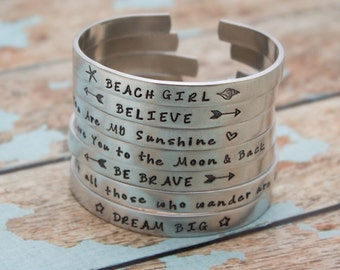 Personalized Hand Stamped Cuff Bangle Bracelet Your Favorite Quote or Names