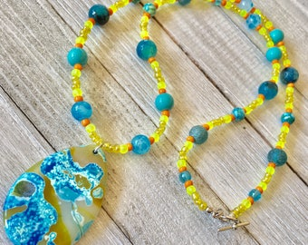 Agate Pendant Long Beaded Necklace, Yellow & Blue Beaded Necklace, Boho Beaded Necklace, Festival Necklace, Agate Jewelry, Festival Jewelry