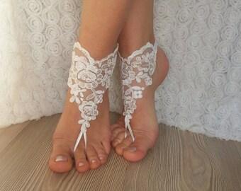 bridal bangle ivory sandals, beach wedding barefoot sandals, wedding bangles, anklets, bridal, wedding gift  bridesmaid sexy accessories