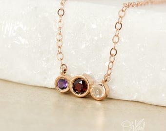 Rose Gold Triple Birthstone Necklace - Garnet, Moonstone, Amethyst - Birthstone Pendant