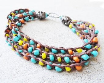 Handmade Crocheted Multistrand Boho Brown Hemp Southwestern Bracelet with Turquoise Orange Yellow Beads By Distinctly Daisy