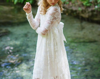 Girls lvory Long Lace Dress - Long Sleeve Ivory Dress- Baby Flower Girl Dress- Dresses- Ivory Girls Dress-Cream Dress- Rustic Wedding Dress