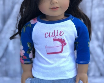 American Made Doll Clothes | Cutie Pie Graphic 3/4 Floral Sleeve BASEBALL TEE for 18 Inch Doll