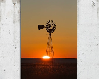 Windmill Horizen - Country, Rustic, Scenic, Sunset, Nature, Photography - Hartley, Texas - Fine Art Print - Canvas Galley Wrap - Metal Print