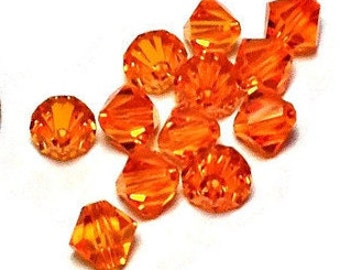Swarovski 5301 Sun 6mm Bicone, 6mm sun 5301 bicone, orange bicone 6mm, orange crystal bead, swarovski bicone (12 pieces)