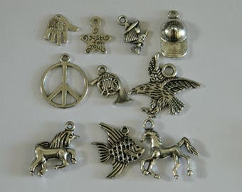 lot 10 assorted charms n ° 4 antiqued silver colored metal