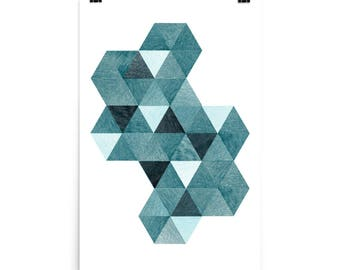 Abstract Turquoise Nordic Scandinavian Midcentury Modern Style Geometric Triangles Cloth Textured Wall Art Poster Print