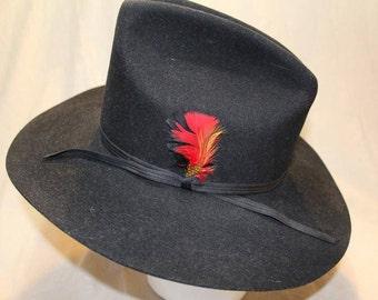Vintage Shepler's  Dynafelt Black Fur Felt Western Men's Cowboy Hat Size 7 1/8 57cm