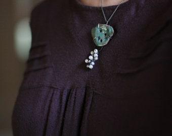Sea treasure necklace - ceramics, pearls and sterling silver