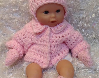 12 inch dolls clothes,12 inch Doll sets,winter Doll clothes,choice of color.Included is Jacket,Hat,Mittens,Booties