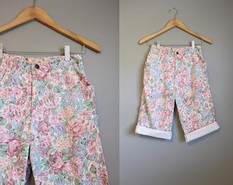 High Waisted Shorts Jean Vintage Denim Floral Long XS 25