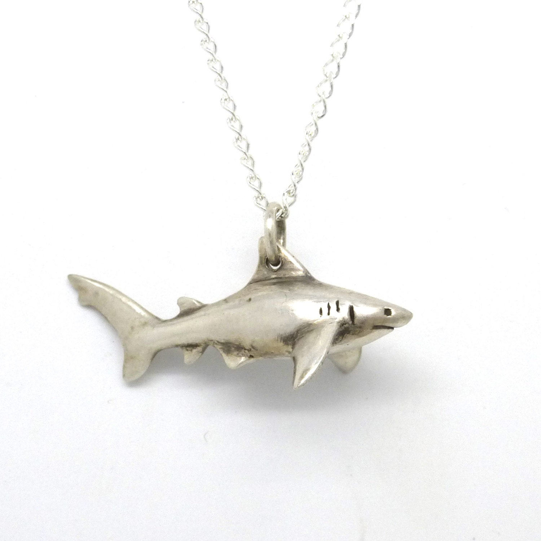 Pet shark necklace silver toy shark pendant aloadofball Images