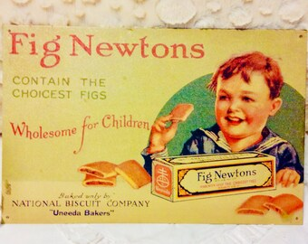Rare Vintage Fig Newton Tin Sign Metal Cookie by National Biscuit Company Americana Advertising