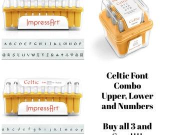 Celtic Metal Stamp Set Impressart 3mm-COMBO- Get all 3-Metal Alphabet Set Punch Set-Metal Supply Chick--NEW