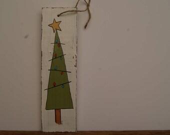 Christmas Tree Sign, Hand Painted Christmas Tree Decoration, Handmade Christmas Tree Sign, Chippy Paint Christmas Tree Decor, Tree Decor