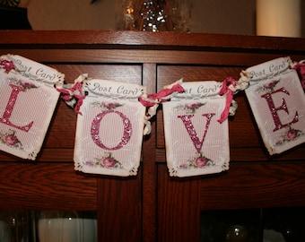 Love Banner / Garland / Shabby Chic / Rhinestones/ Bridal Shower decor