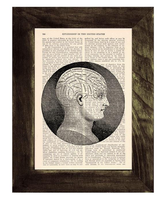 Upcycled Dictionary Page Upcycled Book Art Upcycled Art Print Book Print Vintage Art Print Brain Phrenology study SKA045