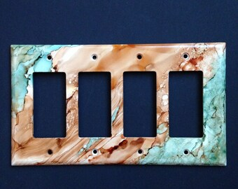 Southwest Desert Sandstone & Turquoise Switch Plate - Hand Painted - Wall Decor