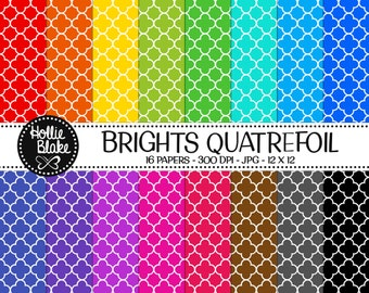 50% off SALE!! 16 Bright Quatrefoil Digital Paper • Rainbow Digital Paper • Commercial Use • Instant Download • #QUATREFOIL-101-2-B