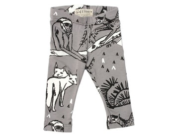 Animal Leggings in Black and White on Grey