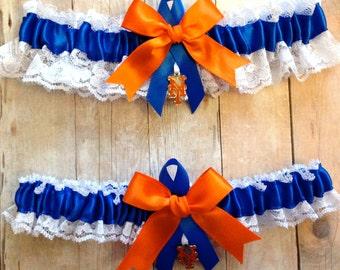 Handmade Lace Wedding Garter Set New York Mets NY keepsake and toss RORG