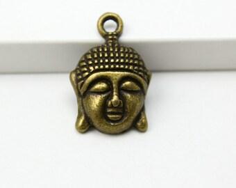 30Pcs Antique Brass Buddha Charm Buddha Pendant 22x15mm (PND326)
