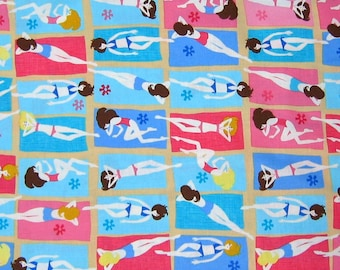 Timeless Treasures Fabric - Retro Beach Babes Tanning Blue Pink C1189 YARDS