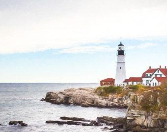 Portland Head Light Print, Portland Lighthouse Photo, Maine Lighthouse Print, Maine Photography, Lighthouse Picture, Maine Art, Canvas Art
