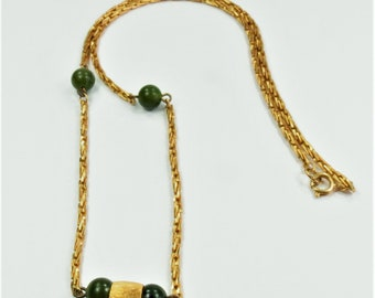 Vintage Gold Tone Peking Glass Bead Necklace