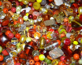 NEW 8/oz per lot 6-15mm Yellow, Orange GLASS, gemstone, beads lot, Mixed Loose lot of  Beads Assorted