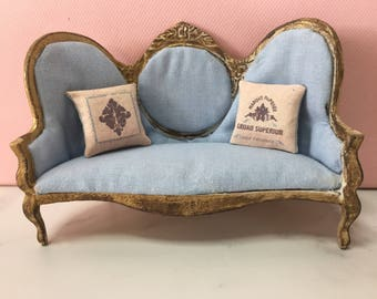 Dolls house mini Victorian style sofa