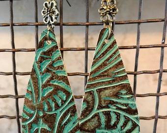 Embossed Sea Foam Green Leather Teardrops Earrings