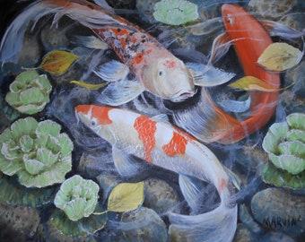 Koi Pond II Original Oil Painting stretched canvas 16 X 20 Top Selling Artist