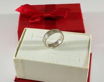 17.2 mm ring 925 silver stripe design rar SR704