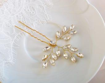 Bridal Hair pins, Rose Gold Hair Pins, Bridal Headpiece, Wedding Hair Piece, Crystal Hair Pins, Bridal Hair Piece, Bridal Hair Jewelry