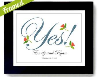 Unique Engagement Gift Idea She Said Yes Personalized Engagement Date Gift Engagement Bridal Shower