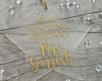 Teaching Assistant, Star Teaching Assistant, Teaching Assistant Decoration, TA, Tree Decoration, Handmade Christmas Decoration, Hanging Star