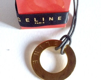 CELINE rings gold plated pendant engraved brand with original box