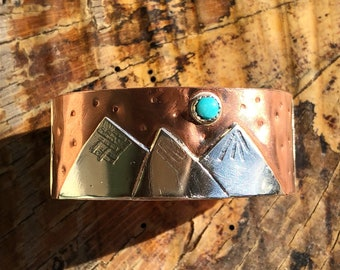 Copper, Turquoise, & Sterling Silver Mountain Cuff