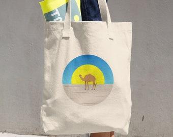 Camel in Sahara Desert Cotton Tote Bag