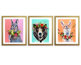 Woodland Animals Wall Art, Rabbit, Bear, Fox, Flowers, Girl Nursery Decor, Digital Prints, 11x14, Willow Branch Studio