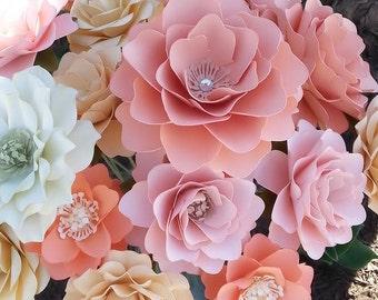 Paper Flower Bouquet, Paper Flowers, Handamde Paper Flowers, Stemmed Paper Flower, Shabby Chic Paper Flowers, Bridal Shower, Set of 24