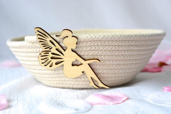 Fairy Dust Bowl, Handmade Pixie Basket, Primitive Clothesline Basket, Hair Tie Holder, Rustic Girl Bowl,  Paintable natural rope basket