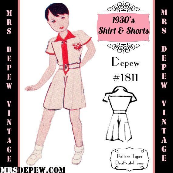 1930s Children's Fashion: Girls, Boys, Toddler, Baby Costumes 1930s Boys Shirt & Shorts - Romper - Any Size Depew 1811 Draft at Home Pattern -INSTANT DOWNLOAD-Vintage Sewing Pattern 1930s Boys Shirt & Shorts - Romper - Any Size Depew 1811 Draft at Home Pattern -INSTANT DOWNLOAD- $7.50 AT vintagedancer.com