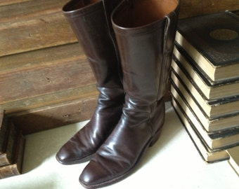 Brown Leather Riding Boots, 1970s Rare Lucchese, Custom Texas Made Stovepipe Riding Boots, Size 8, 9 US