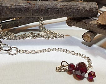 Red Beaded Y Necklace