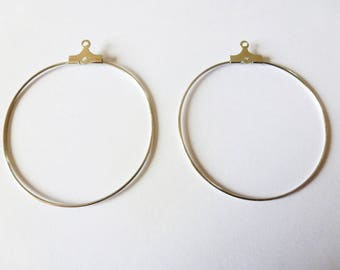 Pair of hoop earrings in rhodium (ref PPBO02) 40mm