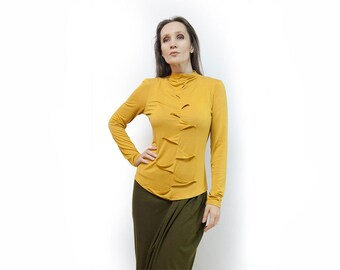 blouse,yellow blouse,knitted blouse,long sleeves,original blouse,soft blouse,autumn blouse,suit,yellow top Model B 73