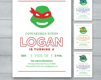 Teenage Mutant Ninja Turtles Birthday Invitation | TMNT Birthday Invite  |  Leonardo, Raphael, Donatello, Michaelangelo Birthday Invite